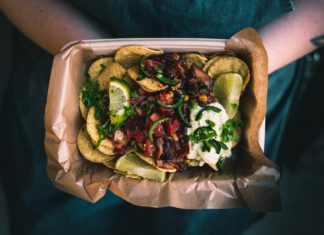 street food, take away tray of nachos