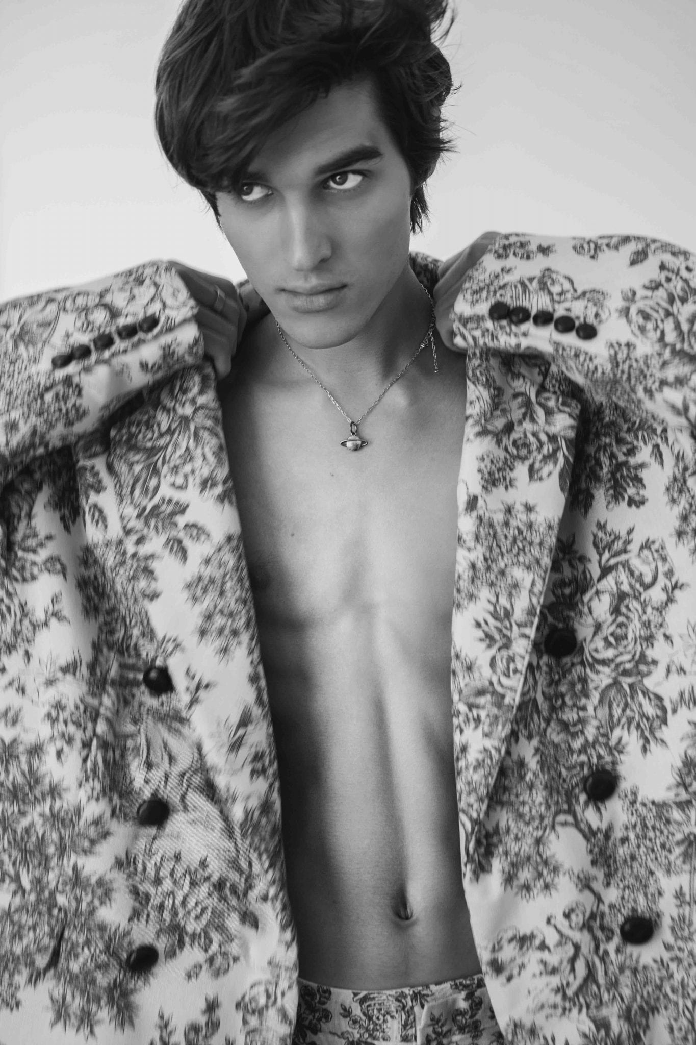 Total look Angelos Frentzos, necklace Vivienne Westwood model's own