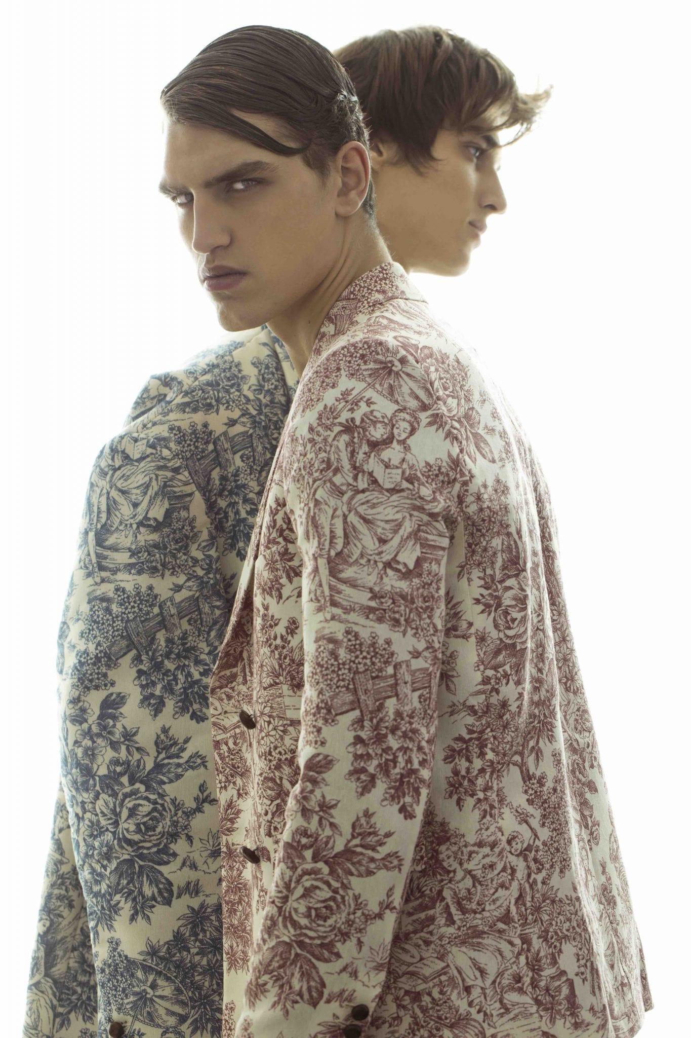 ALEXANDER: Total look Angelos Frentzos, necklace Vivienne Westwood model's own; GENNARO: Total look Angelos Frentzos