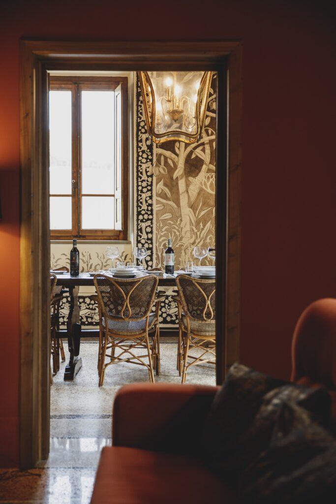 La sala interna dell'Agriturismo La Torre di San Martino a Panzano in Chianti