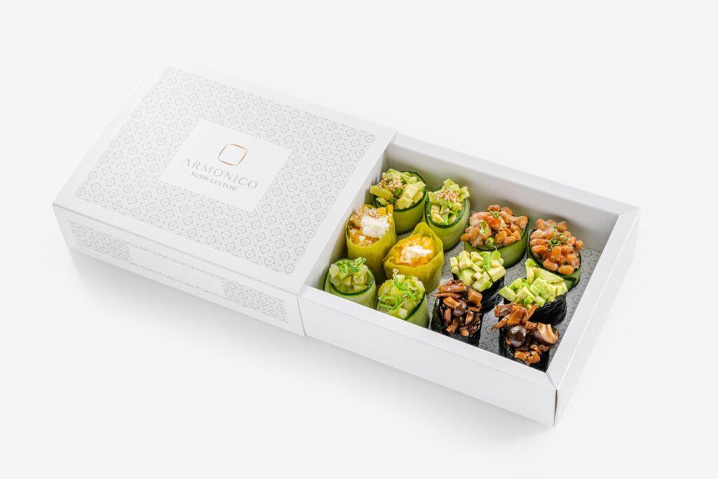 Box degustazione Bomboniera: il mix di gunkan vegetariani by Armonico