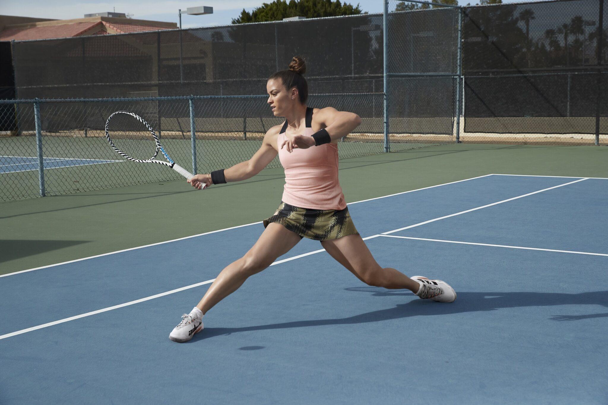 La tennista greca Maria Sakkari in campo