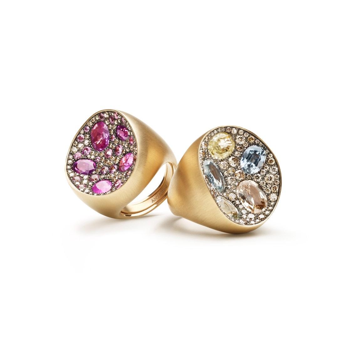 Due anelli della collezione Mosaic Extraordinaire di Sergio Antonini Gioielli