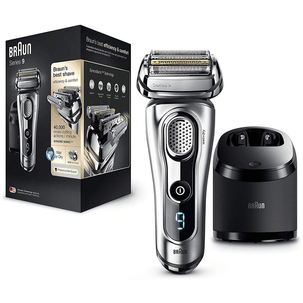 Tra i migliori prodotti per la barba del 2021 c'è senza dubbio il rasoio elettrico Braun 9 Series completo di stazione di caricamento e pulizia