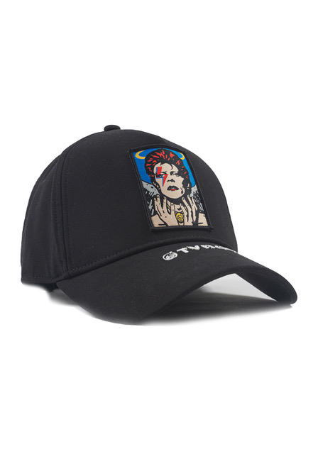 Cappellino nero con visiera Antony Morato con l'immagine di David Bowie realizzata da TVBoy