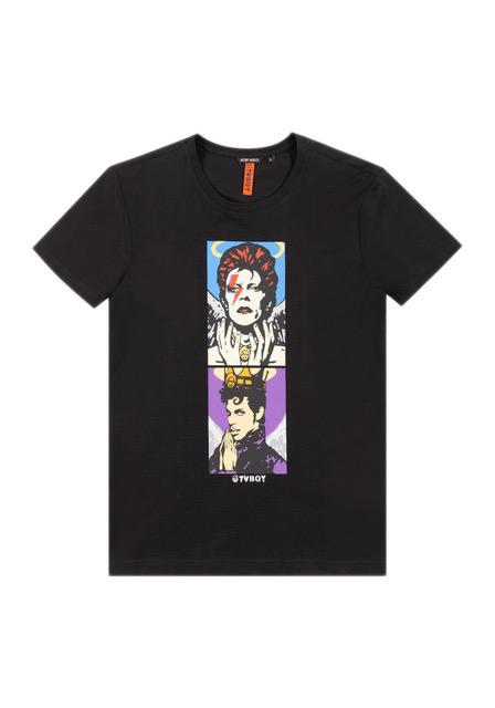T-shirt nera Antony Morato con disegni realizzati da TVBoy per celebrare due icone pop: David Bowie e Prince