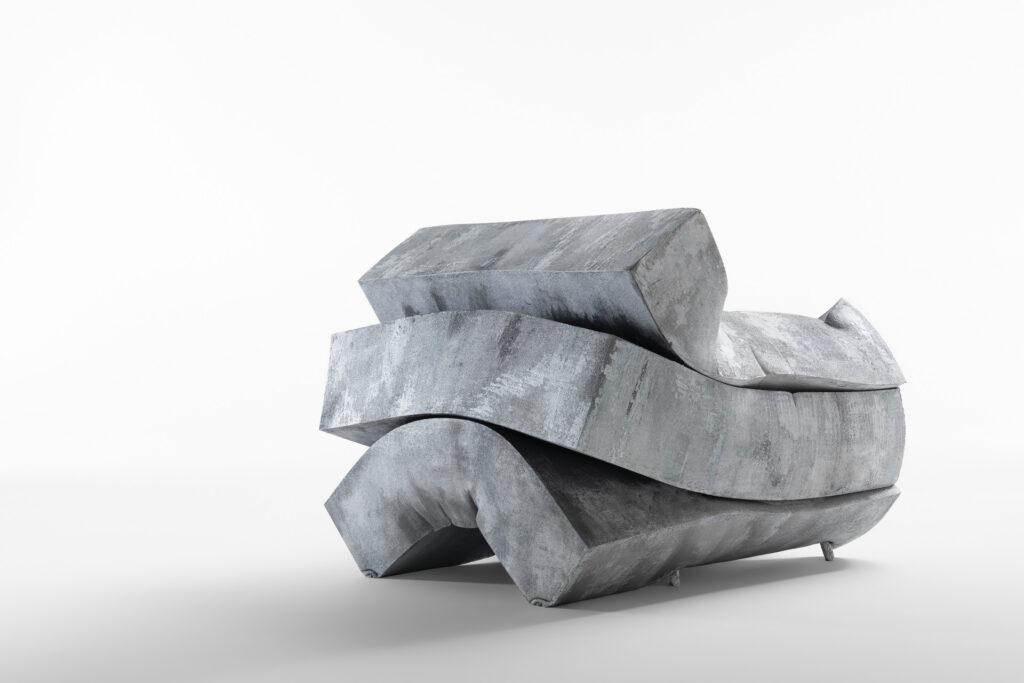 La poltrona MassPressure in gommapiuma realizzata da Dror per la Milano Design Week 2021